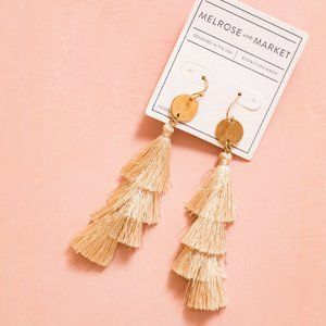 Tiered Tassel Earrings with Coin Drop